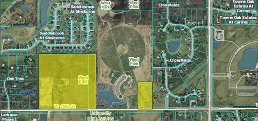 About 45 acres of West Park, highlighted on the map, is undeveloped. West Park, Carmel, IN (Submitted photo)