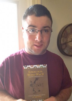 "Sean Millard displays ""Echoes from World War II,"" a book that contains a story he wrote. (Submitted photo)"
