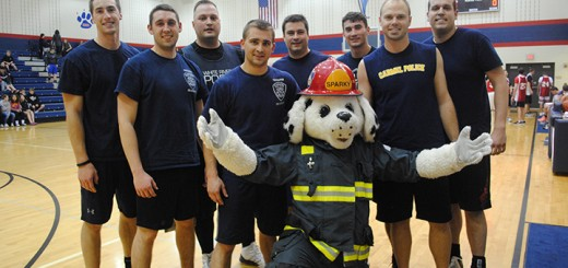 From left, Michael Phillips, CFD, Reuben Russell, CFD, Andy Zellers, CPD, Will Mueller, CFD, DJ Schoeff, CPD, Sparky, CFD, Nick Stryker, CPD, Mike Miller, CPD and Jason Gilmore CPD competed as part of the Carmel Fire and Police Dept. team.