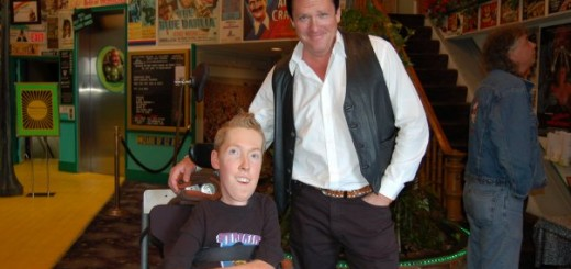 "George Cornelius IV, right, meets actor Michael Madsen during a special showing of ""Reservoir Dogs."" (submitted photo)"