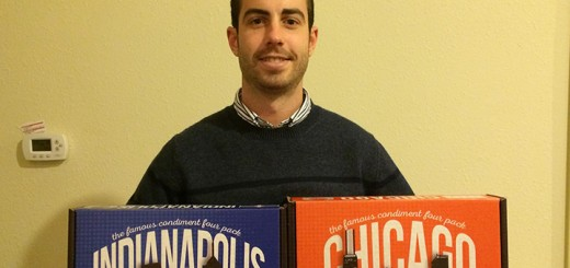 Eric Murphy with boxes of condiments. (Photos by Mark Ambrogi)