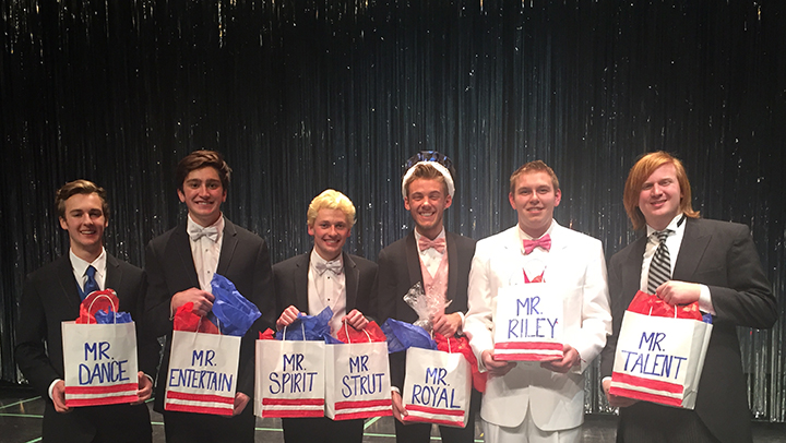 Winners from the 2015 Mr. Royal talent show included, from left, Mitch Rankin (Mr. Dance), Mason Swofford (Mr. Entertainment), Zach Silcox (Mr. Strut and Mr. Spirit), Sam Adams (Mr. Royal), David Bock (Mr. Riley) and Sean Wood (Mr. Talent). (Submitted photo)