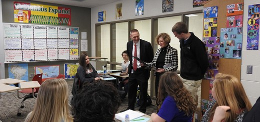 U.S. Rep. Susan W. Brooks surprised Fishers High School student Grayson Faircloth during his Spanish class Feb. 9 to congratulate him for winning the Congressional App Challenge for Indiana's 5th District. (Submitted photo)
