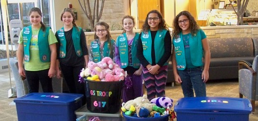 Working toward its Bronze Award, Girl Scout Troop 617 accumulated and donated a collection of stuffed animals and books to be given to children at IU Health Saxony Hospital. Pictured, from left, are Sage Ladaig, Katherine Wincek, Anabella Dentler, Daniela Boyer, Faith Mackenzie and Trinity Mackenzie. Not pictured are troop members Sara Cains and Ella Powell.