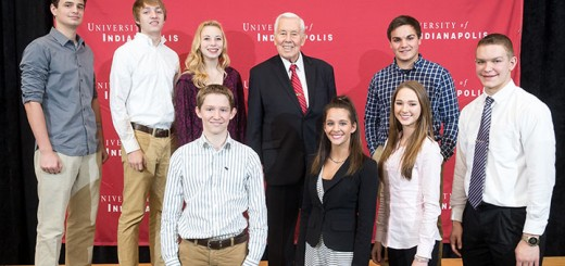 The 39th Annual Richard G. Lugar Syposium for Tomorrow's Leaders was held for Indiana high school students in UIndy's Ransburg Auditorium on Saturday, December 6, 2015, with county group photos afterwards in the ARC dome.   (Photo:  D. Todd Moore, University of Indianapolis)