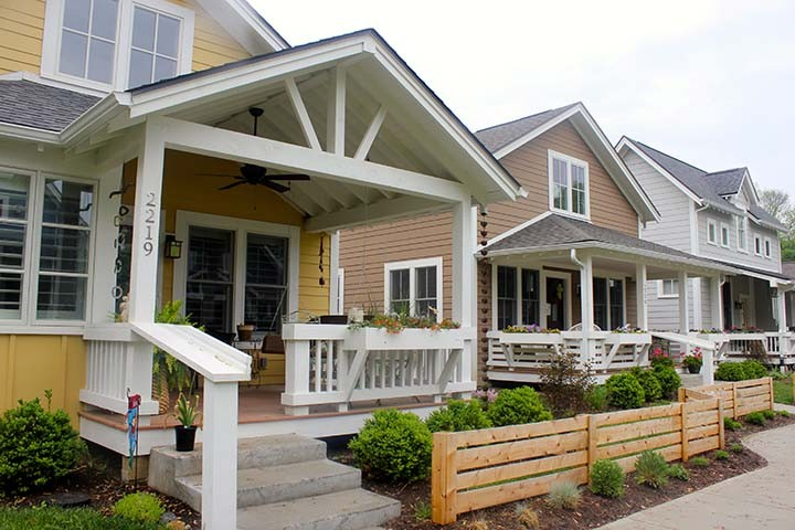 Inglenook cottage homes feature large front porches to allow residents to easily meet and interact with their neighbors. (Submitted photo)
