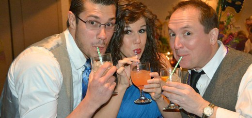 Logan Moore, Danielle Carnagua and ATI co- founder, Don Farrell at last year's ATI Mardi Gras party. (File photo)