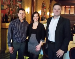 From left to right: Armando and Lindsey Campuzano, then Jeremiah Hamman, Director of Prime 47. They received a gift card for dinner.