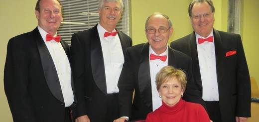 Quartet members left to right, Pat Stevens, lead; Terry Silke, Baritone, Jack Shaffer, tenor, and Skip Kropp, base with Singing Valentine recipient Suzie Shaffer. (Submitted photo)