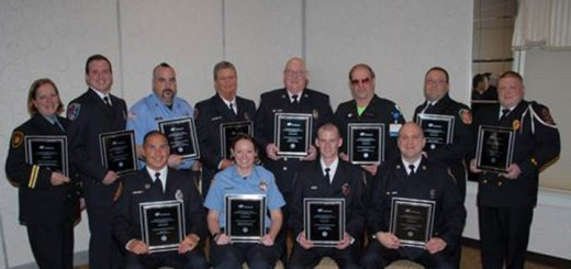 Back row, left to right: Ramona Everett-Seymour, Perry Township Volunteer Fire Dept.; Michael Goodrich, Pike Township Fire Dept.; Chris Duarte, Wayne Durbin Township Volunteer Fire Dept.; Renee Webb, Westfield Fire Dept.; Rick Viehe, Carmel Fire Dept.; Doug Bish, St. Vincent Critical Care Transport- special recognition as St. Vincent Angel Medic; John Coonfield, Jackson Fire Territory; Greg Maxwell, Decatur Township Fire Dept. Front row, left to right:, Adam Lee, Fishers Fire Dept.; Brandi Cunningham, Whitestown Fire Dept.; Matthew Quigley, Zionsville Fire Dept.; Todd Watson, Noblesville Fire Dept. Not pictured: Kevin Brock, Cicero Fire Dept. (submitted photo)