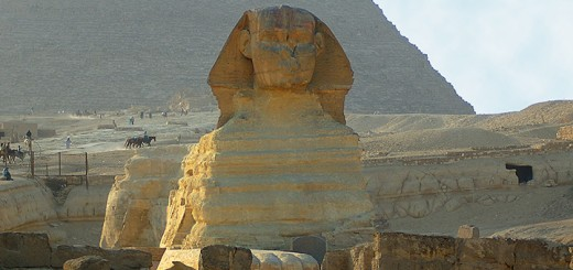 Great Sphinx and Pyramid of Khafra. (Photo by Don Knebel)