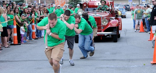Brandon Greiner leads a team on the pumper pull. (submitted photo)