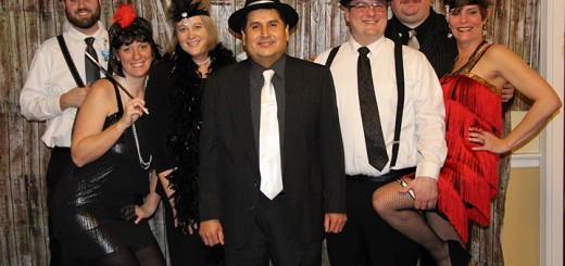 From left, Dining Room Manager Ethan Hess, Wellness Director Christina Hooks, Move-In Coordinator Grace Snyder, Executive Director Sam Carrillo, Director of Dining Services Mark Perry, Social Director Joe Green and Lifestyle Advisor Libby Mellinger show off their '20s attire. (submitted photo)