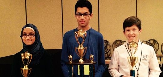 From left, Inman Masood of Enman School, Ashwin Prasad of Creekside Middle School and Dominic Solomito of Highlands Latin School display their trophies from the Hamilton County Spelling Bee. (Photo by Mark Ambrogi)