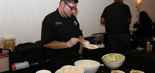 Chef Wilson Rojas of BRU Burger Bar prepares samples for guests to enjoy.