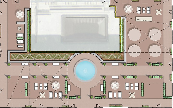 A public square is planned for the interior plaza of Sophia Square Apartments. (Submitted photo)