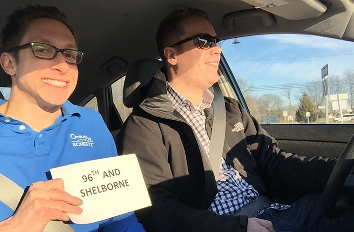 Garrett Brooks, left, and Kevin Patterson circled 91 roundabouts in Carmel on Jan. 30. (submitted photo)