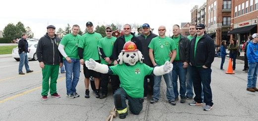 The Lebanon Fire Dept. team pauses after winning the pumper pull competition.