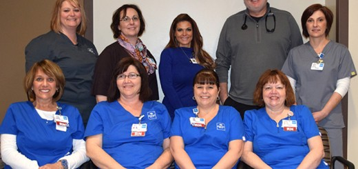 The Riverview Health Wound Care Team. Front, from left, Carol Gelatt, RN, Jayme Scherer, RIN, Lori Tindall, RN, and Rita Webb, RN; back, from left, Shana Tenbrook, CHT, Shannon Smith, NP, Crystal Whisler, Tracey Ikerd, MD, and Debbie Neal. (Submitted photo)