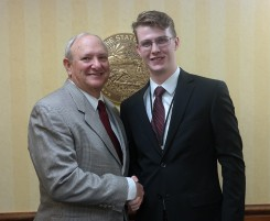State Sen. Luke Kenley (R-Noblesville), left, pauses with Christian Mills. (Submitted photo)