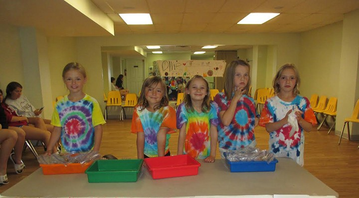 Kids hold a bake sale last year at the end of the cooking camp and receive the proceeds. From left, Kylie Amos, Lauren Margetson, Katelyn Bolduc, Isabelle Jackson and Kinleigh Bounds. (Submitted photo)