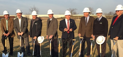 From left: Mark Keen, Duane Lutz, Steve Hoover, Chuck Lehman, Jim Ake, Mayor Andy Cook, Robert Horkay and Joe Edwards participated in the groundbreaking for the new outpatient care center. (Photo by Anna Skinner)