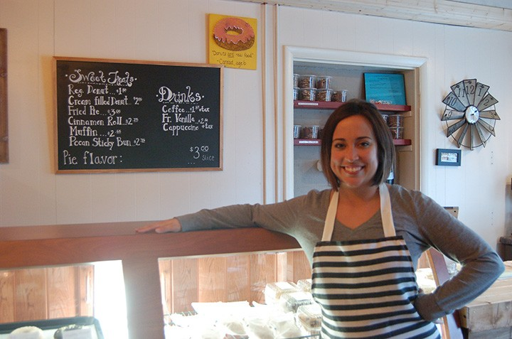 Rachel Gallienne in her small shop on First Street (photo by Heather Lusk)