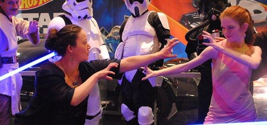 On Feb. 27, the Children's Museum of Indianapolis held a special event, Museum by Moonlight, for adults to explore the museum from 8 p.m. to midnight. Erin O'Rear, left, of Westfield dramatizes a scene from Star Wars with her roommate, Sarah Behling, of Broad Ripple. (Photos by Anna Skinner)