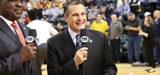 Indiana Pacers TV announcer Chris Denari presents the pre-game show before the Pacers matchup with the Portland Trailblazers on Feb. 28. (Photo by Ann Marie Shambaugh)