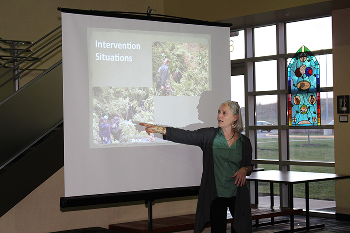 Dr. Jan Ramer gives her 'One Health: How We All Benefit' presentation at Unversity High School in Carmel. (Photo by James Feichtner)