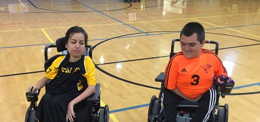 Natalie Russo, left, and Jordan Dickey play power soccer. Dickey is also a member of the national team. (Submitted photo)