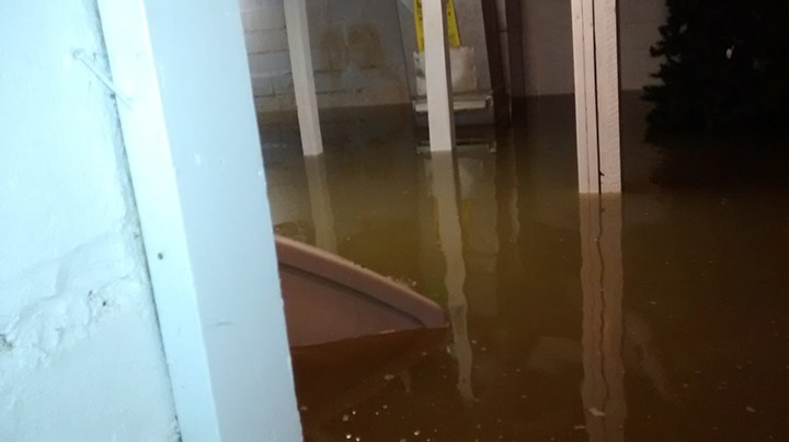 Derek Fakehany and Amy Van Ostrand's basement experiences severe flooding in July 2015. (Submitted photo)