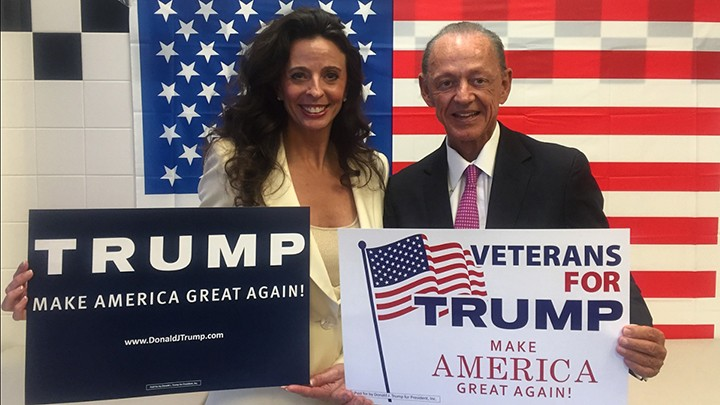 Tomisue and Steve Hilbert show their support for Donald Trump at the opening of Trump's campaign office in Carmel. (Submitted photo)