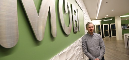 """Josh Garrett, co-founder and chief strategy officer of wireless management firm MOBI, said he believes the company's recent expansion has it pre- pared for a """"wave of business."""" (Photo by Ann Marie Shambaugh)"""
