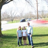 Jill Meyers and her daughter, Becca Meyers, and neighbor Norb Stranksy live near Oak Street and Kissel Road. They are pushing for safety improvements at the intersection. (Photo by Ann Marie Shambaugh)