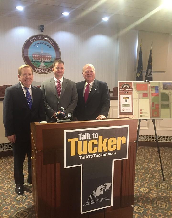 Mayor Jim Brainard, Justin Moffett, and Tucker CEO Jim Litten. (Photo by Adam Aasen)