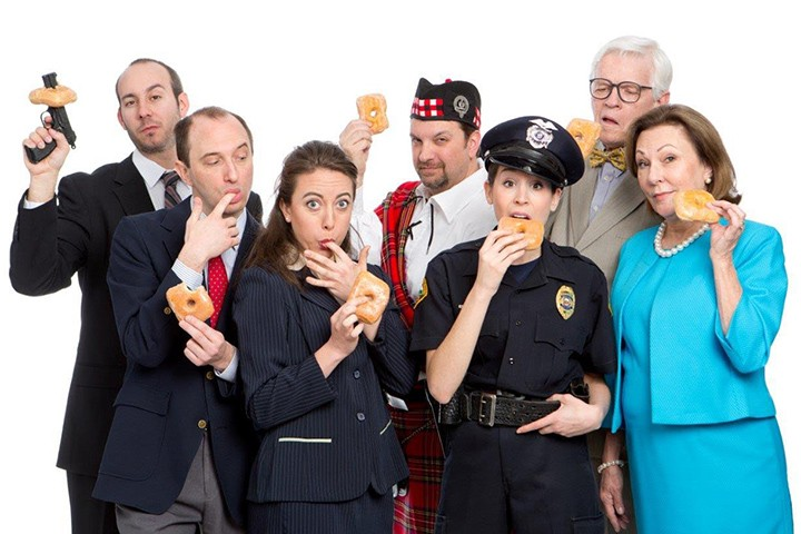 "The cast of ""Unnecessary Farce,"" from left: Scott Russell, Scot Greenwell, Leah Brenner, Roger Ortman, Jenny Reber, Ken Klingenmeier, Vickie Cornelius Phipps. (Submitted photo)"