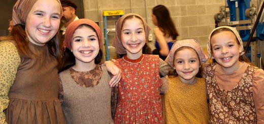 """Broadway bound Lucy Neal, Campbell Kirsh, Anjali Rooney, Nya Beck and Amelia Wray took time to pose for """"Where'sAmy?"""" on opening night."""