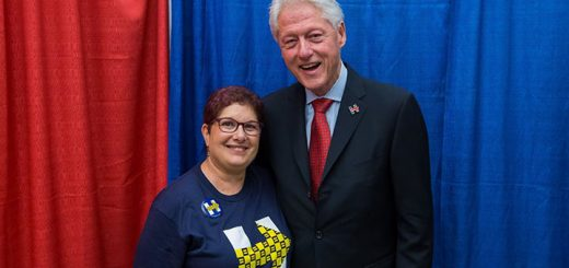 Annette Siegel Gross pauses with former President Bill Clinton. (Submitted photo)