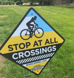 The City of Carmel has installed signs to remind bicyclists of important safety laws. (Submitted photo)