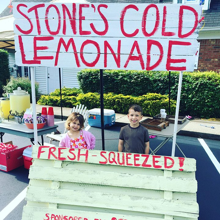 Stone Parker, right, and his sister, Ainsley, sell lemonade. (Submitted photo)