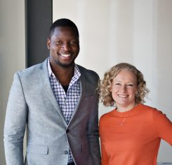 Seun Odukomaiya, left, and Kelley Bieghler, mechanical engineers who launched KBSO. (Submitted photo)