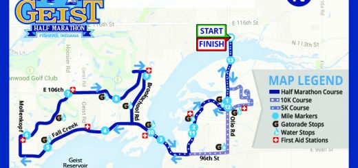 This map shows the routes for the May 21 Geist Half Marathon, 10K and 5K runs. (Submitted map)