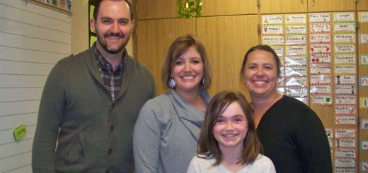 Market District's Jason Riley presented store gift cards to Fall Creek Elementary third grade teachers Ailee Howard and Amy Schank and brought a pizza party lunch to their class after they were nominated for Teacher of the Month honors by student Katherine McGuire.