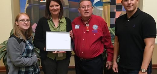 From left, Navient employee Shelbi Hanneman nominated her manager, Lori Sachs, for the Patriotic Employer Award, presented by Indiana Employer Support of the Guard and Reserve Military Outreach Director Barry Green and with Navient Veterans Resource Group Manager Michael Anderson. (Submitted photo)