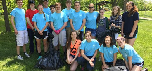 Fifteen students took part in cleaning Asa Bales Park.