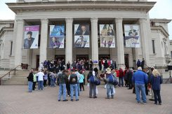 Crowds line up outside the Palladium hours before Donald Trump gave a speech May 2. (Photo by Ann Marie Shambaugh)