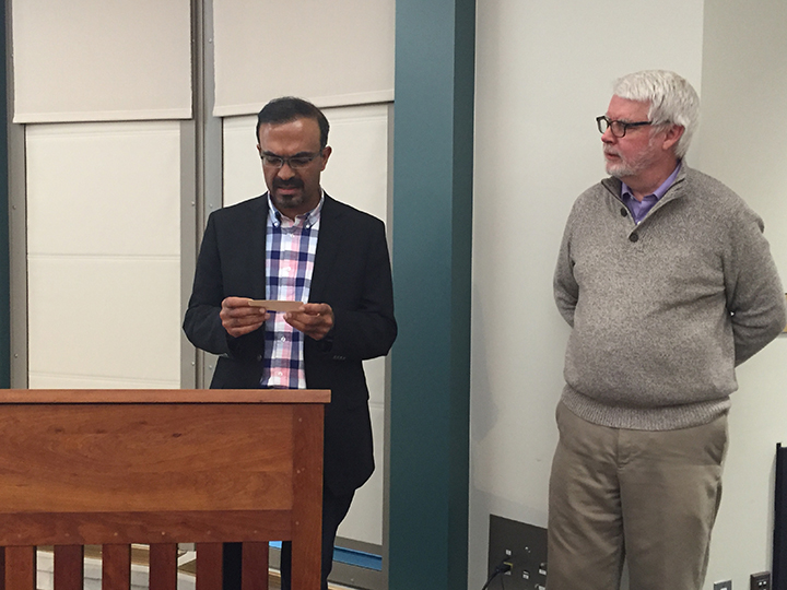 Muzaffar Ahmad, left, and Dr. David Carlson answer questions after the presentation. (Photo by Anna Skinner)