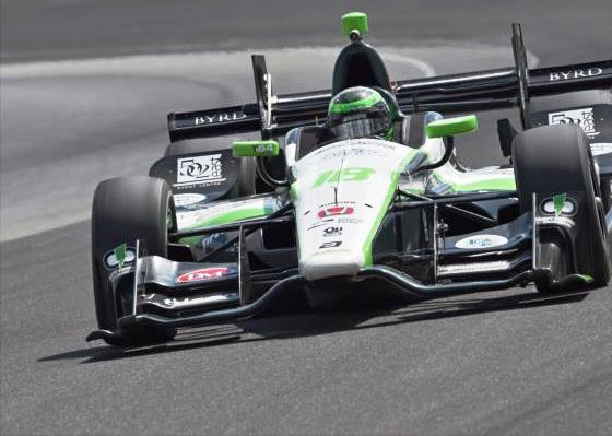 Conor Daly leads the field in the Angie's List Grand Prix at the Indianapolis Motor Speedway. (Submitted photo courtesy of the Indianapolis Motor Speedway.)