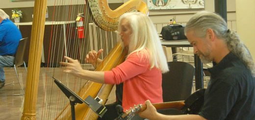 Harpist Jan Aldridge-Clark, left, and guitarist Casey Harshbarger, perform during lunch at the Carmel Kroger. (Photo by Heather Lusk)